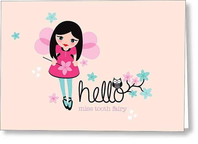 Fairy Pastels Greeting Cards - Hello Tooth Fairy Princess Greeting Card by Maaike Boot