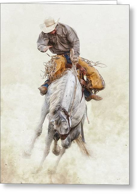 Bucking Horses Greeting Cards - Hells a Poppin Greeting Card by Ron  McGinnis