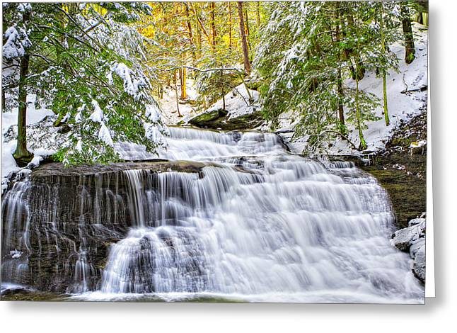 Mcconnells Mill Greeting Cards - Hells Hollow Falls 1 Greeting Card by Emmanuel Panagiotakis