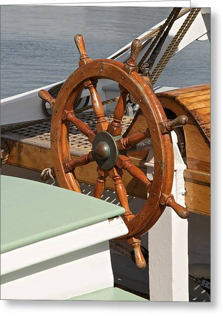 Wooden Ship Photographs Greeting Cards - Helm Greeting Card by Odd Jeppesen