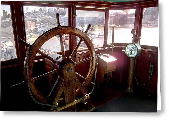 Boats At Dock Greeting Cards - HELM of VICTORIAN EUREKA FERRY Greeting Card by Daniel Hagerman
