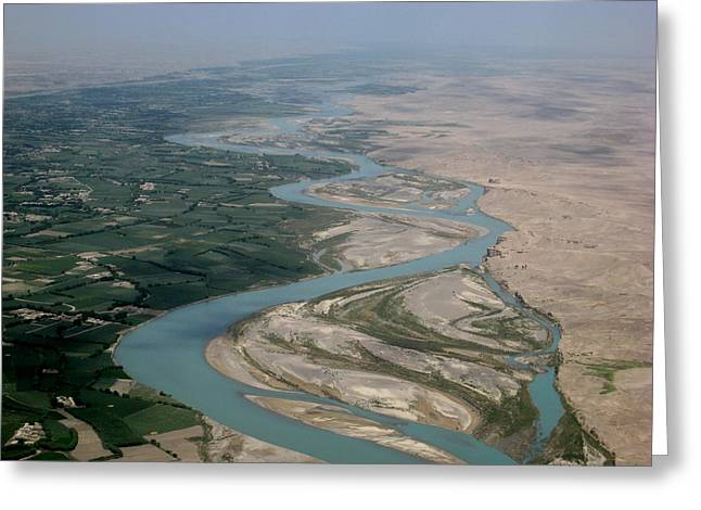 Helmand Province Greeting Cards - Helmand River Valley meets desert Greeting Card by Jetson Nguyen