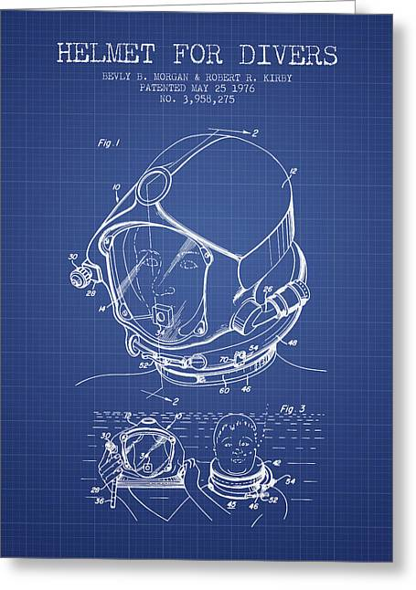 Diving Suit Greeting Cards - Helmet for divers patent from 1976 - Blueprint Greeting Card by Aged Pixel