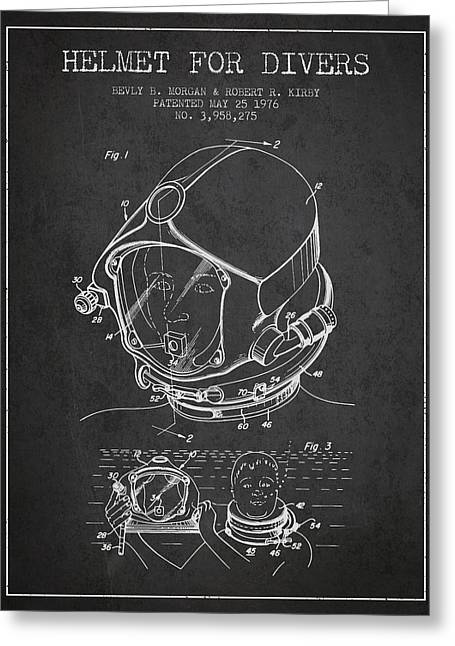 Diving Helmet Greeting Cards - Helmet for divers patent from 1976 - Dark Greeting Card by Aged Pixel