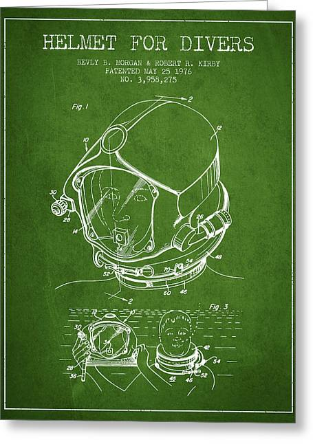 Diving Suit Greeting Cards - Helmet for divers patent from 1976 - Green Greeting Card by Aged Pixel