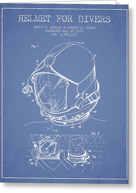 Diving Suit Greeting Cards - Helmet for divers patent from 1976 - Light Blue Greeting Card by Aged Pixel