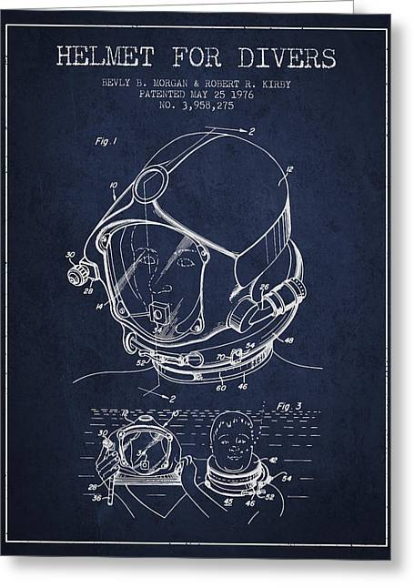 Diving Suit Greeting Cards - Helmet for divers patent from 1976 - Navy Blue Greeting Card by Aged Pixel