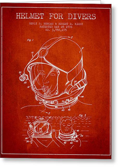 Diving Helmet Greeting Cards - Helmet for divers patent from 1976 - Red Greeting Card by Aged Pixel