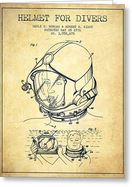 Diving Helmet Greeting Cards - Helmet for divers patent from 1976 - Vintage Greeting Card by Aged Pixel