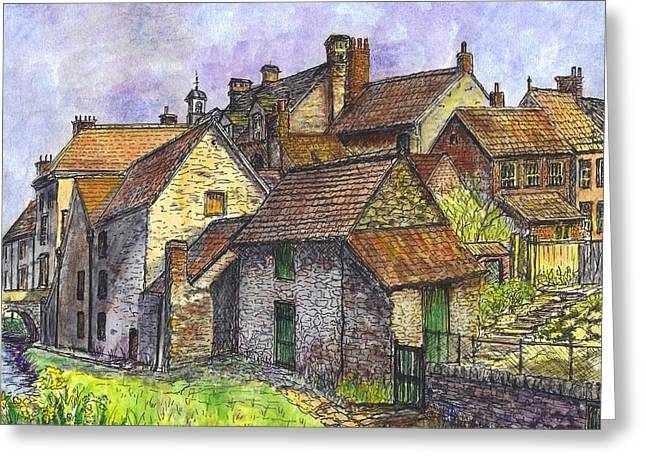 Stone House Mixed Media Greeting Cards - Helmsley Village -  in Yorkshire England  Greeting Card by Carol Wisniewski