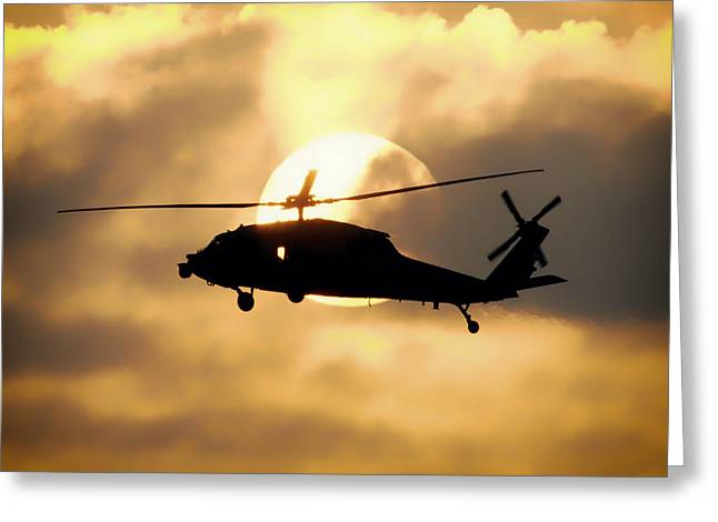 Helo Greeting Cards - Helo Sunset Greeting Card by Mountain Dreams
