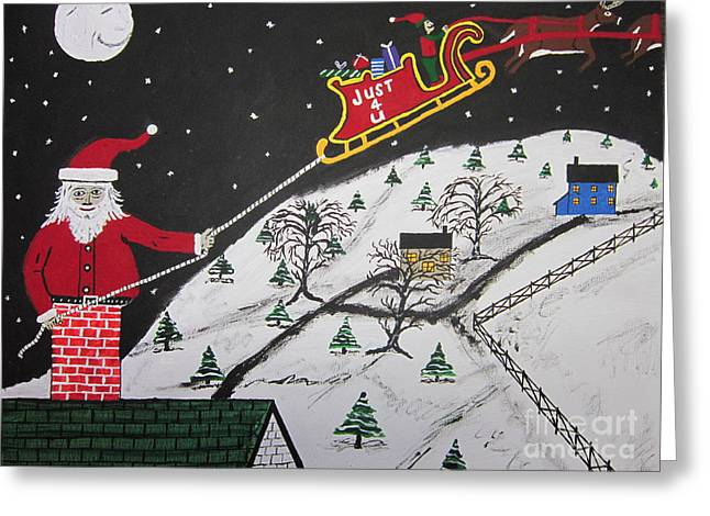 Help Santa's Stuck Greeting Card by Jeffrey Koss