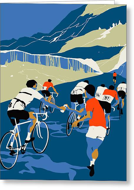 Bike Race Greeting Cards - Helping Hand Greeting Card by Eliza Southwood