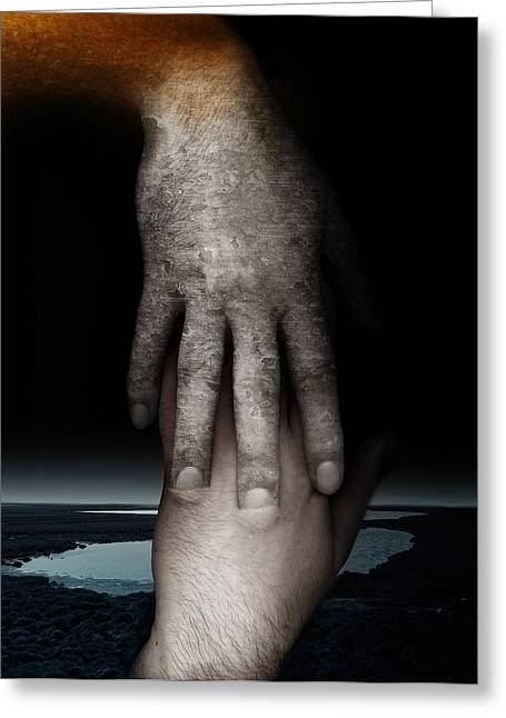 Bonding Digital Art Greeting Cards - Helping Hand Greeting Card by Johan Lilja