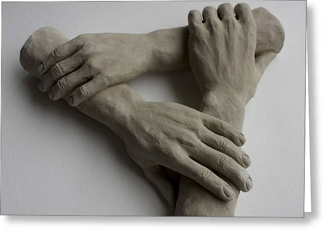 Fingers Sculptures Greeting Cards - Helping Hands Greeting Card by Derrick Higgins