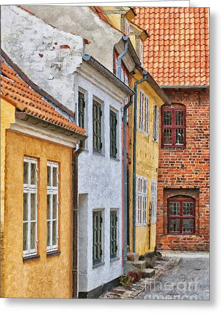 Historical Buildings Digital Art Greeting Cards - Helsingor town centre painting Greeting Card by Antony McAulay