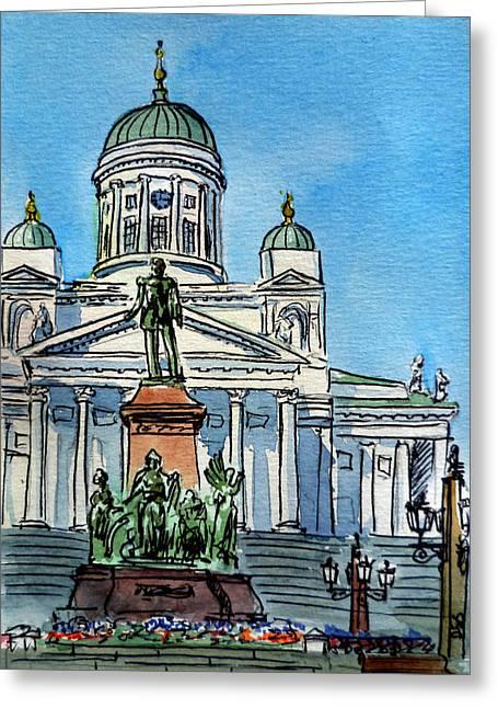Sketchbook Greeting Cards - Helsinki Finland Greeting Card by Irina Sztukowski