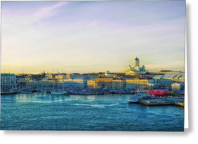 Helsinki Finland Greeting Cards - Helsinki Harbor Greeting Card by Mountain Dreams