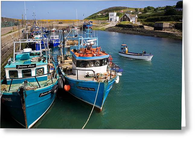 Fishing Port Greeting Cards - Helvick Harbour, Ring Gaeltacht Region Greeting Card by Panoramic Images