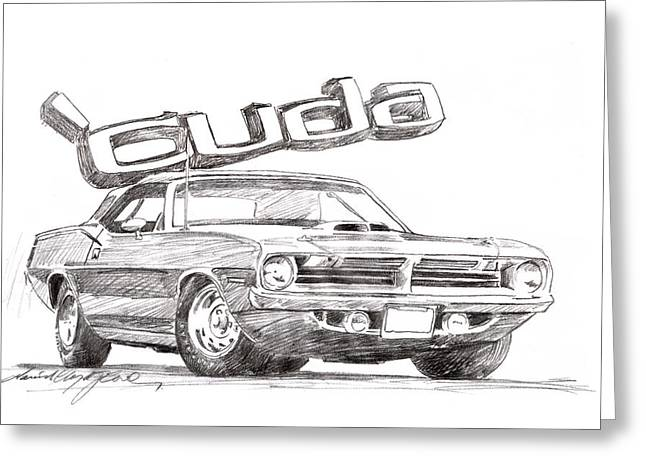 Mopar Greeting Cards - Hemi Cuda Power Greeting Card by David Lloyd Glover