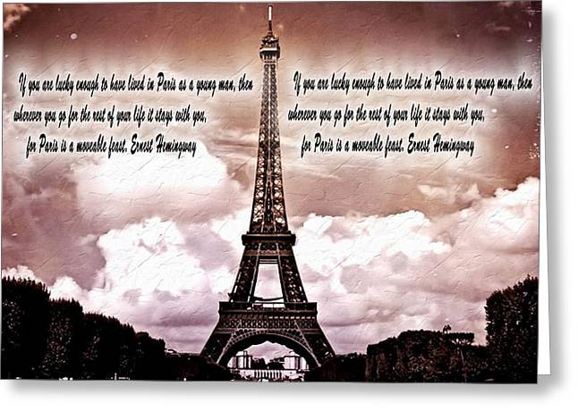 Romance Mixed Media Greeting Cards - Hemingway And Paris Greeting Card by Dan Sproul