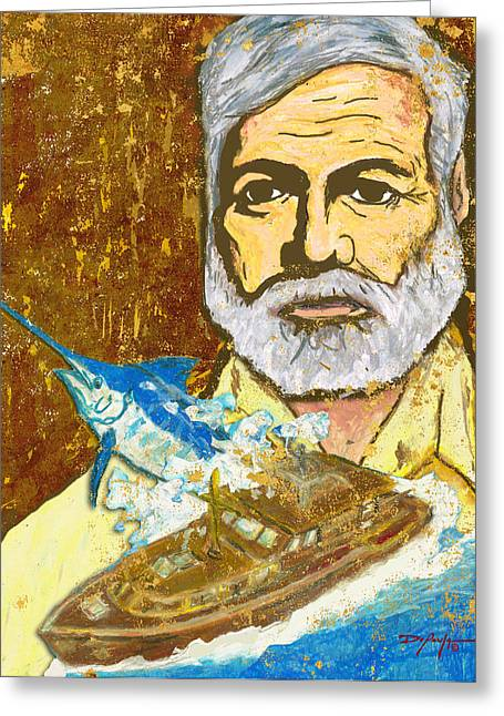 Old Man And The Sea Greeting Cards - Hemingway and the Pilar Greeting Card by William Depaula