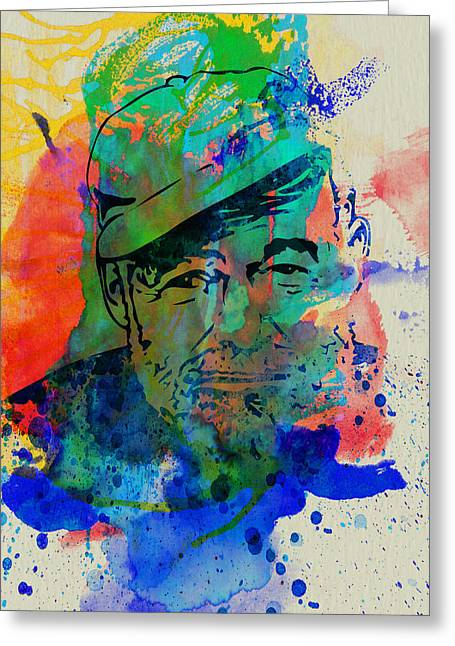 Journalist Greeting Cards - Hemingway Watercolor Greeting Card by Naxart Studio