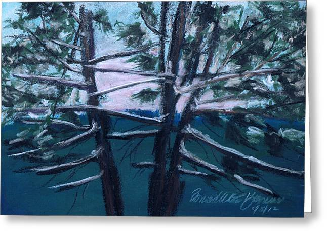 Snow Scene Landscape Pastels Greeting Cards - Hemlocks Snowy Morning Greeting Card by Bernadette Kazmarski