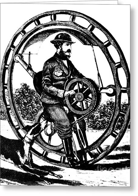 Quirky Greeting Cards - Hemmings Unicycle, Hand-powered Greeting Card by Science Source