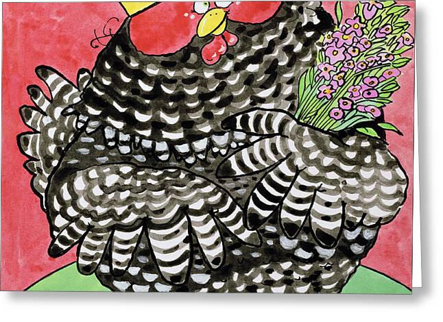 Hen Greeting Card by Maylee Christie