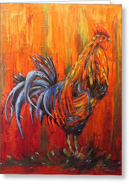 Bright Color Rooster Greeting Cards - Hen Hunter a brightly colored rooster Greeting Card by Sandra Cutrer