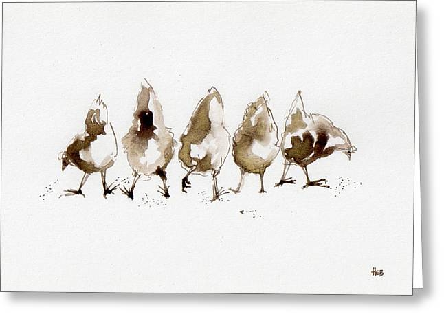 Pecking Drawings Greeting Cards - Hen Line Up Greeting Card by Helen Bennett