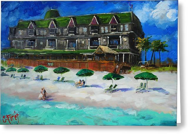 Umbrellas Greeting Cards - Henderson Inn Destin Florida Greeting Card by Carole Foret