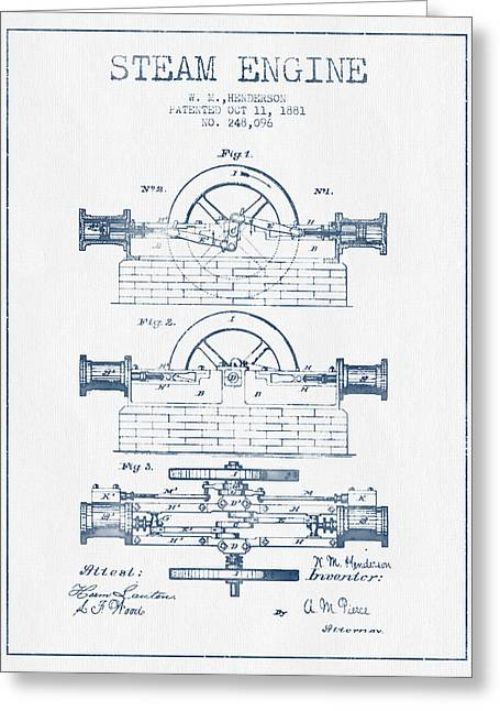 Steam Room Greeting Cards - Henderson Steam Engine Patent Drawing From 1881- Blue Ink Greeting Card by Aged Pixel