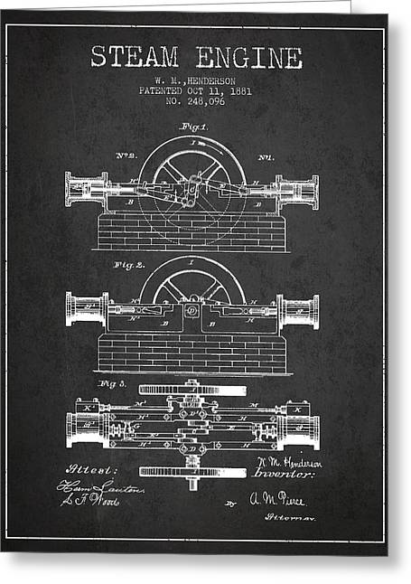 Steam Room Greeting Cards - Henderson Steam Engine Patent Drawing From 1881- Dark Greeting Card by Aged Pixel