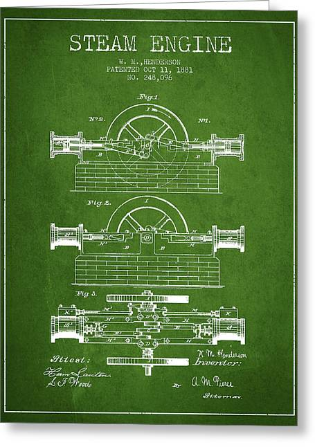 Steam Room Greeting Cards - Henderson Steam Engine Patent Drawing From 1881- Green Greeting Card by Aged Pixel