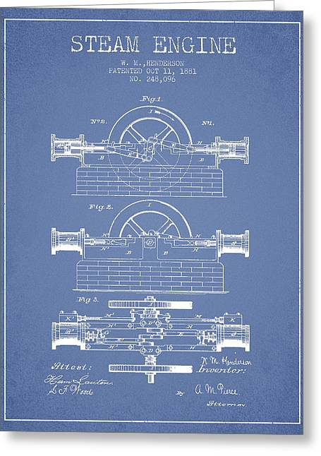 Steam Room Greeting Cards - Henderson Steam Engine Patent Drawing From 1881- Light Blue Greeting Card by Aged Pixel