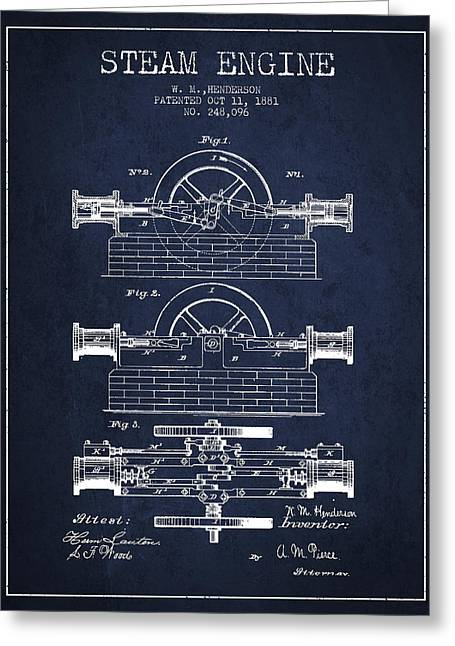 Steam Room Greeting Cards - Henderson Steam Engine Patent Drawing From 1881- Navy Blue Greeting Card by Aged Pixel