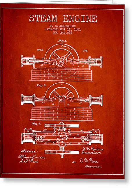 Steam Room Greeting Cards - Henderson Steam Engine Patent Drawing From 1881- Red Greeting Card by Aged Pixel