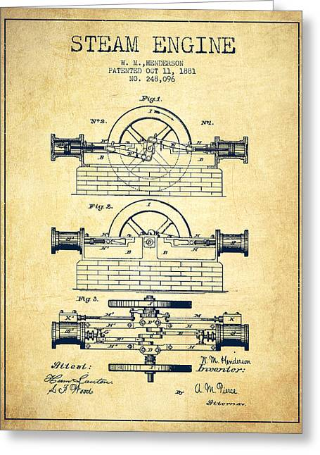 Steam Room Greeting Cards - Henderson Steam Engine Patent Drawing From 1881- Vintage Greeting Card by Aged Pixel