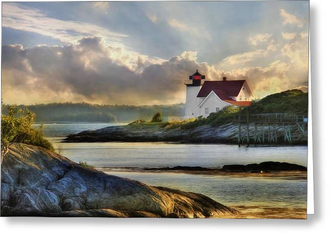 New England Lighthouse Greeting Cards - Hendricks Head Light Greeting Card by Lori Deiter