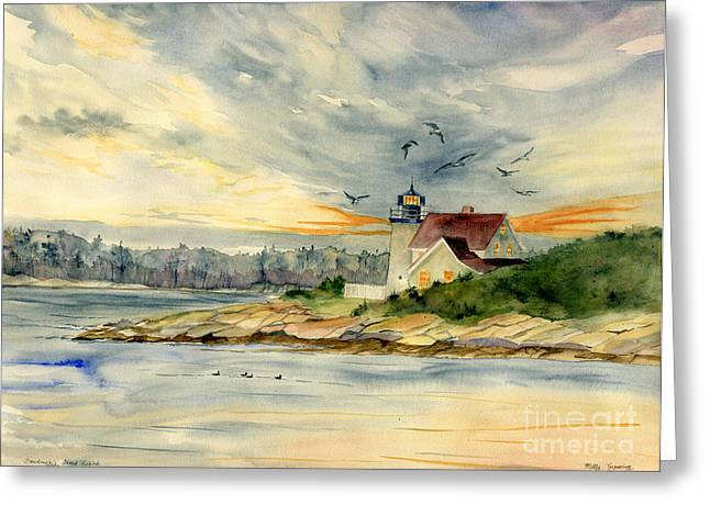 Maine Lighthouses Greeting Cards - Hendricks Head Light Greeting Card by Melly Terpening