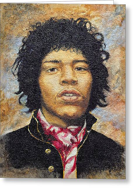 1960s Portraits Greeting Cards - Hendrix 1942-70 Oil On Polytex Board Greeting Card by Trevor Neal