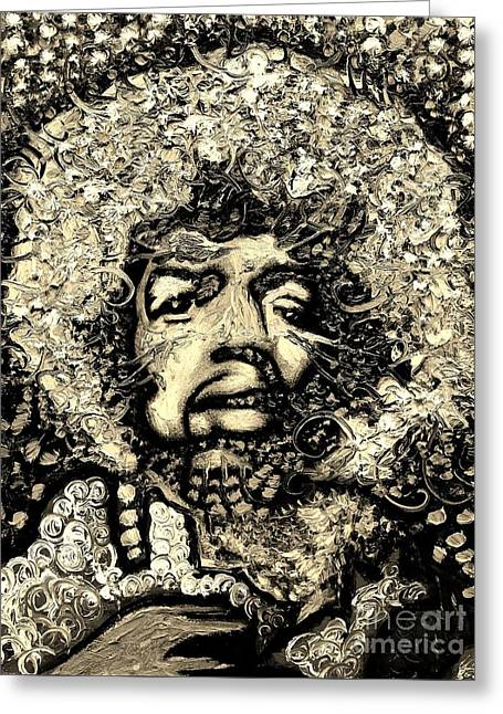 Jimi Hendrix Greeting Card by Michael Kulick