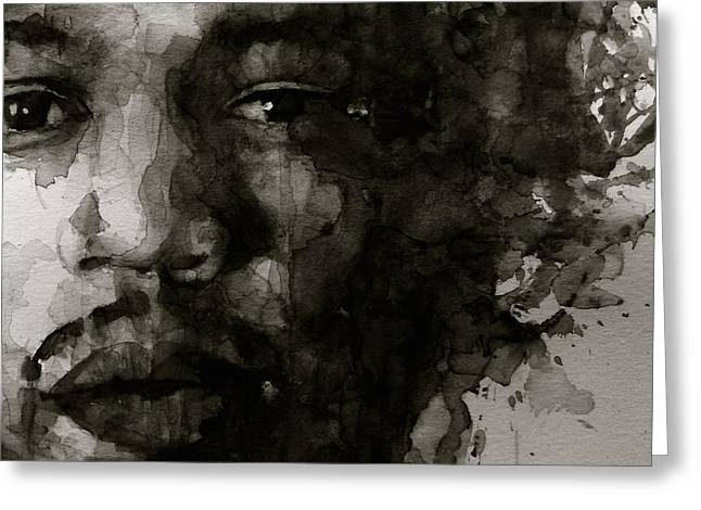 Google Greeting Cards - Hendrix   Black n White Greeting Card by Paul Lovering