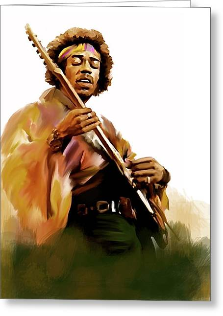 Photo Art Gallery Drawings Greeting Cards - Hendrix II  Jimi Hendrix Greeting Card by Iconic Images Art Gallery David Pucciarelli