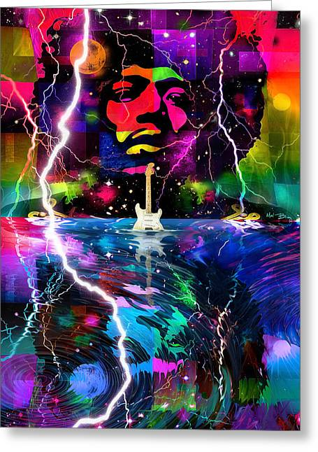 Psychedelia Greeting Cards - Hendrix Greeting Card by Mal Bray