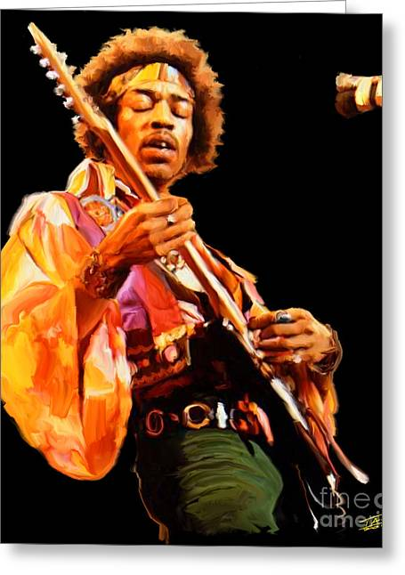 Hendrix Greeting Card by Paul Tagliamonte