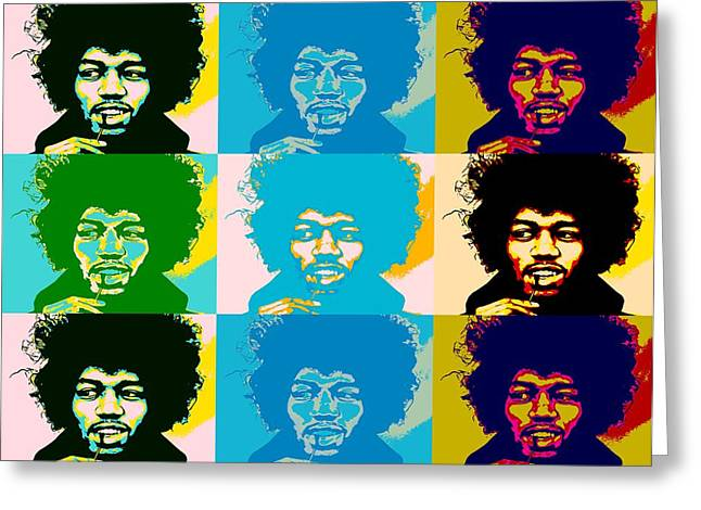 Haze Mixed Media Greeting Cards - Hendrix Pop Art Collage Greeting Card by Dan Sproul