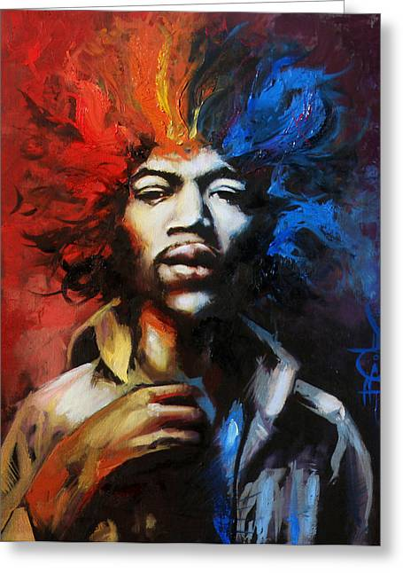 Spectrum Drawings Greeting Cards - Hendrix - Spectrum Greeting Card by Brandon Coley